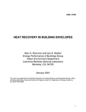 Primary view of object titled 'Heat Recovery in Building Envelopes'.
