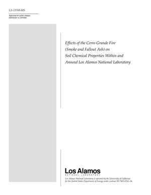 Primary view of object titled 'Effects of the Cerro Grande Fire (Smoke and Fallout Ash) on Soil Chemical Properties Within and Around Los Alamos National Laboratory'.