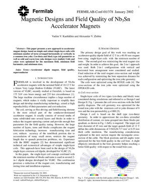 Primary view of object titled 'Magnetic designs and field quality of Nb{sub 3}Sn accelerator magnets'.