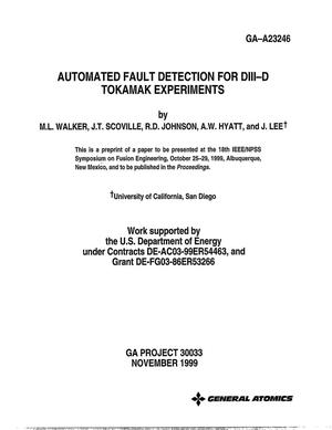 Primary view of object titled 'Automated Fault Detection for DIII-D Tokamak Experiments'.