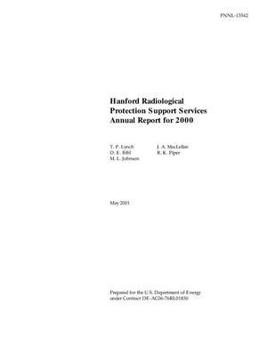 Primary view of object titled 'Hanford Radiological Protection Support Services Annual Report for 2000'.