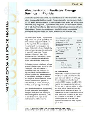 Primary view of object titled 'Weatherization Radiates Energy Savings in Florida: Weatherization Assistance Close-Up Fact Sheet'.