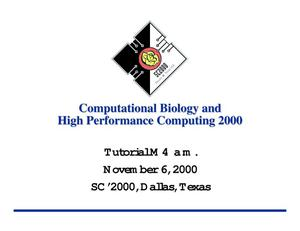 Primary view of object titled 'Computational Biology and High Performance Computing 2000'.