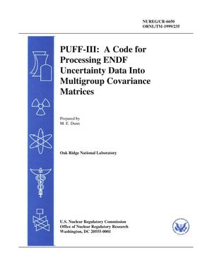 Primary view of object titled 'PUFF-III: A Code for Processing ENDF Uncertainty Data Into Multigroup Covariance Matrices'.