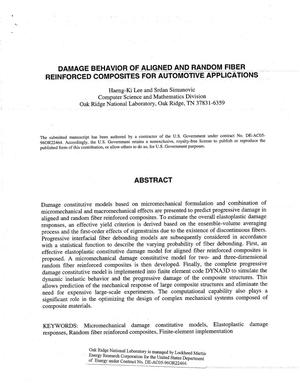 Primary view of object titled 'Damage Behavior of Aligned and Random Fiber Reinforced Composites for Automotive Applications'.
