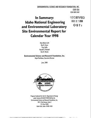 Primary view of object titled 'In Summary: Idaho National Engineering and Environmental Laboratory Site Environmental Report for Calendar Year 1998'.