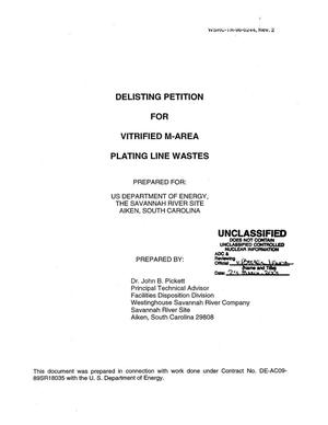Primary view of object titled 'Delisting Petition for Vitrified M-Area Plating Line Wastes'.