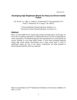 Primary view of object titled 'Developing high brightness beams for heavy ion driven inertial fusion'.