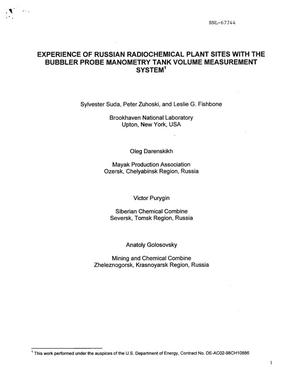 Primary view of object titled 'EXPERIENCE OF RUSSIAN RADIOCHEMICAL PLANT SITES WITH THE BUBBLER PROBE MANOMETRY TANK VOLUME MEASUREMENT SYSTEM.'.