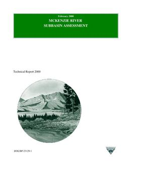 Primary view of object titled 'McKenzie River Subbasin Assessment, Technical Report 2000.'.