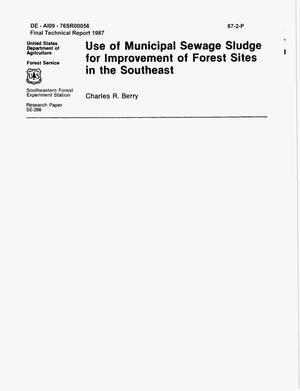 Primary view of object titled 'Use of Municipal Sewage Sludge for Improvement of Forest Sites in the Southeast'.