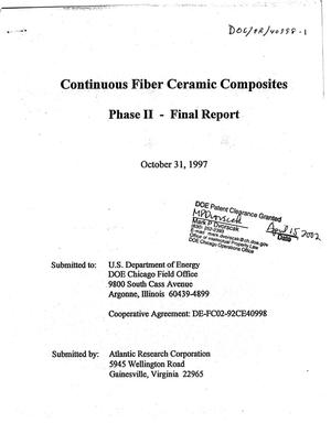 Primary view of object titled 'Continuous fiber ceramic composites. Phase II - Final report'.
