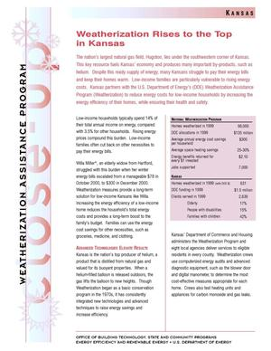 Primary view of object titled 'Weatherization Rises to the Top in Kansas: Weatherization Assistance Close-Up Fact Sheet'.