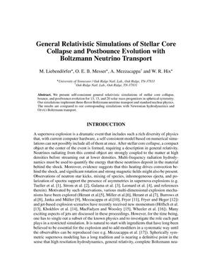 Primary view of object titled 'General Relativistic Simulations of Stellar Core Collapse and Postbounce Evolution with Boltzmann Neutrino Transport'.