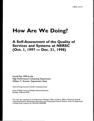Primary view of object titled 'How Are We Doing? A Self-Assessment of the Quality of Services and Systems at NERSC - (Oct. 1, 1997-Dec. 31, 1998)'.