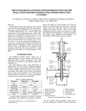 Primary view of object titled 'The Fundamental Power Coupler for the Spallation Neutron Source (SNS) Superconducting Cavities'.