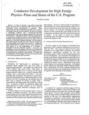 Primary view of object titled 'Conductor development for High Energy Physics - Plans and Status of the U.S. Program'.