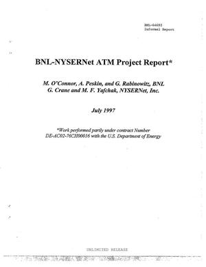 Primary view of object titled 'BNL-NYSERNet ATM Project Report. Regional High Speed Network'.