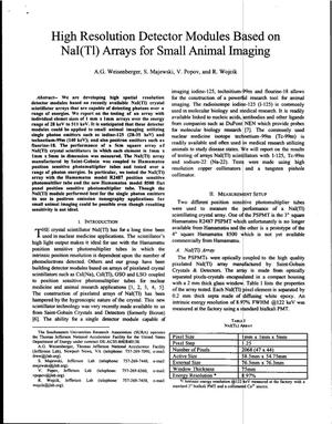Primary view of object titled 'High Resolution Detector Modules Based on NaI(T1) Arrays for Small Animal Imaging'.