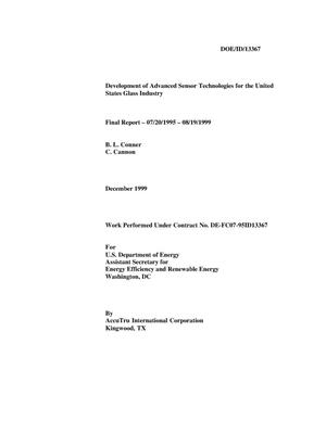 Primary view of object titled 'Development of Advanced Sensor Technologies for the United States Glass Industry - Final Report - 07/20/1995 - 08/19/1999'.