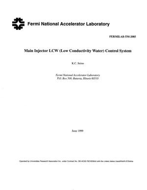 Primary view of object titled 'Main Injector LCW (Low Conductivity Water) control system'.