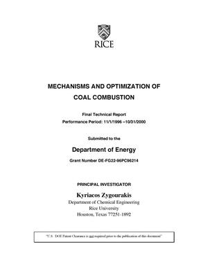 Primary view of object titled 'MECHANISMS AND OPTIMIZATION OF COAL COMBUSTION'.
