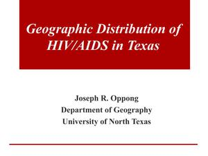 Primary view of object titled 'Geographic Distribution of HIV/AIDS in Texas'.