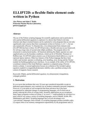 ELLIPT2D: A Flexible Finite Element Code Written Python
