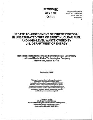 Primary view of object titled 'Update to Assessment of Direct Disposal in Unsaturated Tuff of Spent Nuclear Fuel and High-Level Waste Owned by U.S. Department of Energy'.