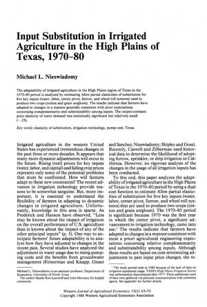 Input Substitution in Irrigated Agriculture in the High Plains of Texas, 1970-80