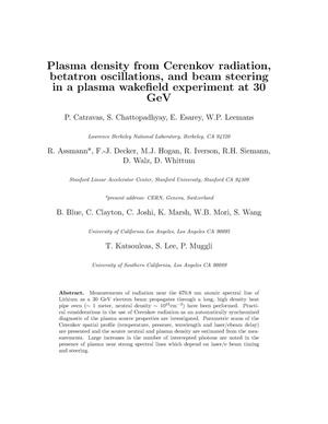 Primary view of object titled 'Plasma density from Cerenkov radiation, betatron oscillations, and beam steering in a plasma wakefield experiment at 30 GeV'.