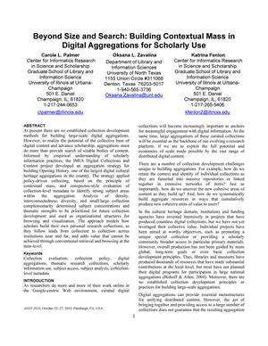 Primary view of object titled 'Beyond Size and Search: Building Contextual Mass in Digital Aggregations for Scholarly Use'.