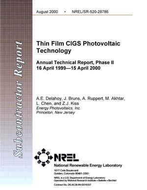 Primary view of object titled 'Thin-Film CIGS Photovoltaic Technology: Annual Technical Report-Phase II, 16 April 1999-15 April 2000'.