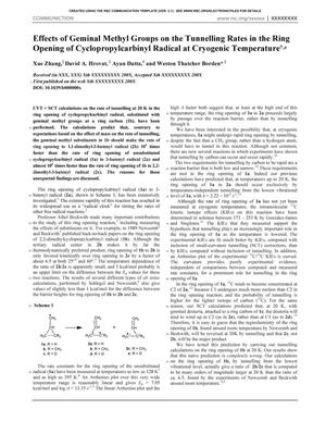 Effects of Geminal Methyl Groups on the Tunnelling Rates in the Ring Opening of Cyclopropylcarbinyl Radical at Cryogenic Temperature