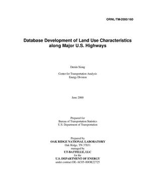 Primary view of object titled 'Database Development of Land Use Characteristics Along Major U.S. Highways'.