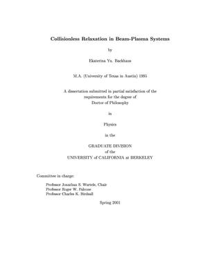 Primary view of object titled 'Collisionless relaxation in beam-plasma systems'.