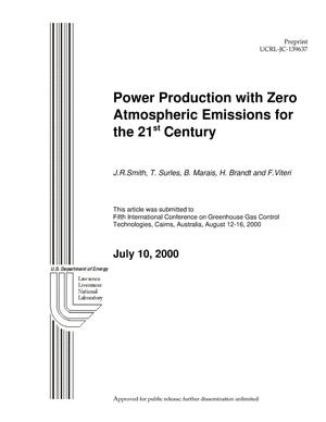 Primary view of object titled 'Power Production with Zero Atmospheric Emissions for the 21st Century.'.