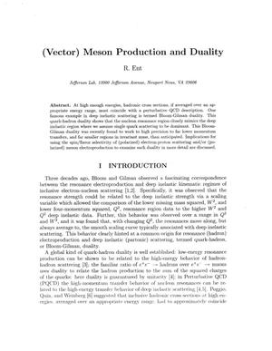 Primary view of object titled '(Vector) Meson Production and Duality'.