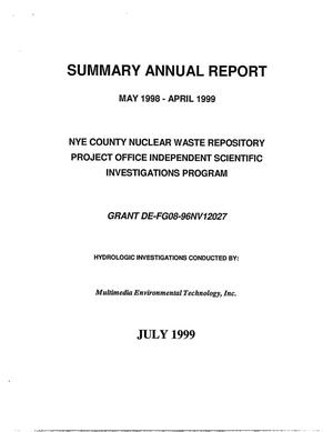 Primary view of object titled 'Nye County Nuclear Waste Repository Project Office Independent Scientific Investigations Program - summary annual report. May 1998 - April 1999'.