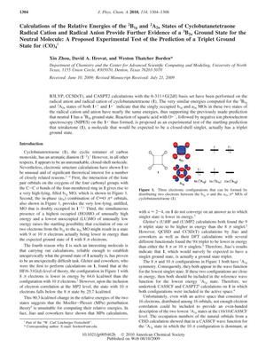 Primary view of object titled 'Calculations of the Relative Energies of the 2B1g and 2A2u States of Cyclobutanetetraone Radical Cation and Radical Anion Provide Further Evidence of a 3B2u Ground State for the Neutral Molecule: A Proposed Experimental Test of the Prediction of a Triplet Ground State for (CO)4'.