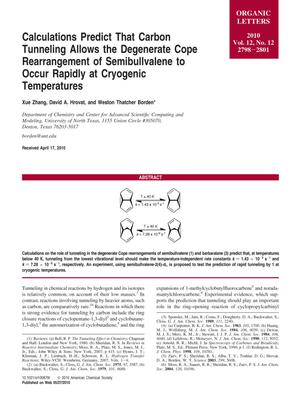Calculations Predict That Carbon Tunneling Allows the Degenerate Cope Rearrangement of Semibullvalene to Occur Rapidly at Cryogenic Temperatures