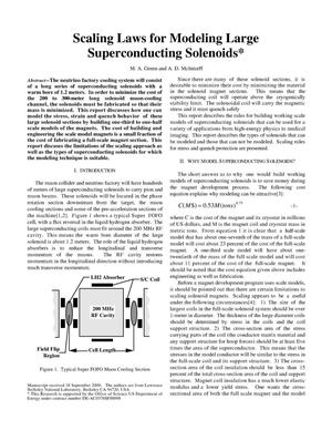 Primary view of object titled 'Scaling laws for modeling large superconducting solenoids'.
