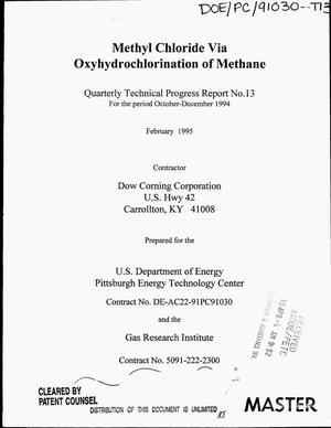 Primary view of object titled 'Methyl chloride via oxyhydrochlorination of methane. Quarterly technical progress report No. 13, October--December 1994'.