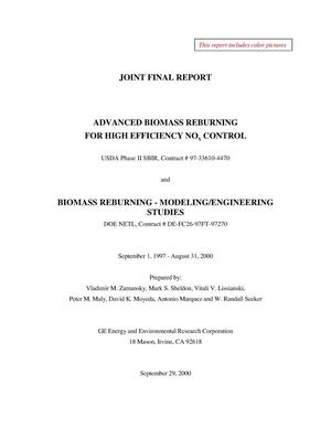 Primary view of object titled 'ADVANCED BIOMASS REBURNING FOR HIGH EFFICIENCY NOx CONTROL AND BIOMASS REBURNING - MODELING/ENGINEERING STUDIES JOINT FINAL REPORT'.