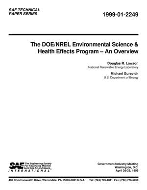 Primary view of object titled 'The DOE/NREL Environmental Science and Health Effects Program - An Overview'.