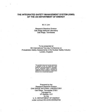 Primary view of object titled 'The Integrated Safety Management System (ISMS) of the US Department of Energy'.