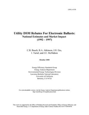 Primary view of object titled 'Utility DSM Rebates for electronic ballasts: National estimates and assessment of market impact (1992 - 1997)'.