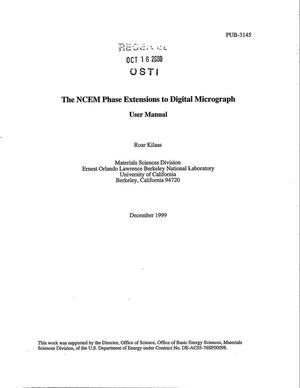 Primary view of object titled 'The NCEM phase extensions to digital micrograph: User Manual'.