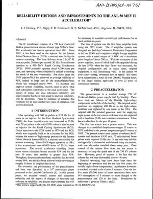 Primary view of object titled 'Reliability history and improvements to the ANL 50 MEV H accelerator.'.