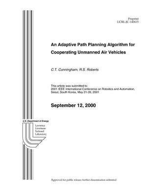Primary view of object titled 'An Adaptive Path Planning Algorithm for Cooperating Unmanned Air Vehicles'.